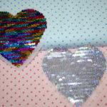 Streichpailetten Applikation Herz klein bunt - silber