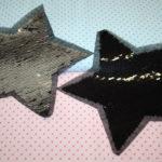 Streichpailetten Applikation Stern schwarz - silber groß