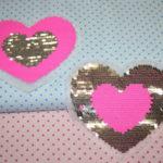 Streichpailetten Applikation Herz NEON pink - silber
