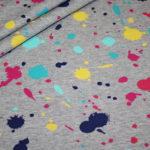 Dünner Sweatshirt Stoff grau meliert bunte Kleckse