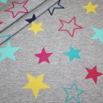 Dünner Sweatshirt Stoff grau meliert bunte Sterne