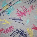 Dünner Sweatshirt Stoff grau meliert bunte Striche