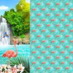 Stenzo Jersey Stoff Digitaldruck Flamingo am Wasserfall großes Panel