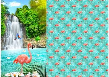 Flamingo Jersey Panel Stoff!