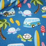 Jersey Stoff Sommer Surfen Bulli blau