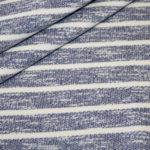 Sweatshirt Stoff jeansblau meliert Streifen