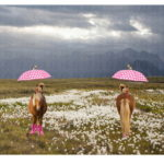Stenzo Jersey Stoff Digitaldruck Neues Pony im Regen großes Panel