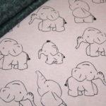 Alpenfleece Happyfleece Sweatshirt Stoff altrosa mit Elefanten