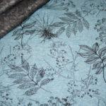 Alpenfleece Happyfleece Sweatshirt Stoff petrol blau Blätter Bäume