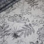 Alpenfleece Happyfleece Sweatshirt Stoff grau Blätter Bäume
