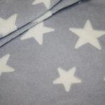 Weicher Zottel Fleece Stoff Sterne blau