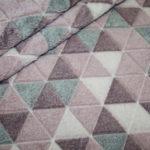 Weicher Wellness Zottel Fleece Stoff Dreieck Muster altrosa grau