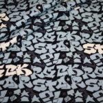Hilco dünner Sweatshirt Stoff I love Rock`n Roll cool blau türkis