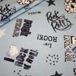 Hilco Jersey Stoff I love Rock`n Roll cool blau türkis