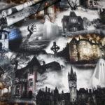 Digitaldruck Jersey Stoff Geisterhaus Geister Gespenst