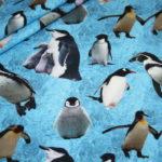 Digitaldruck Jersey Stoff Pinguin blau