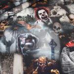 Digitaldruck Jersey Stoff Monster Totenkopf Werwolf Zombie Halloween