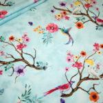 Digitaldruck Jersey Stoff türkis Vögel Blumen