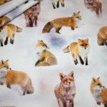 Digitaldruck Jersey Stoff Fuchs im Schnee Füchse