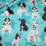 Digitaldruck Jersey Stoff Hunde Welpen Puppys