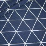 Jersey Stoff Geometrix Muster blau weiß