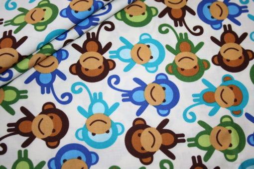 renee-d.de Onlineshop: Robert Kaufman Baumwollstoff Affe blau grün
