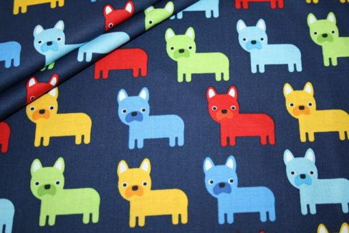 renee-d.de Onlineshop: Robert Kaufman Baumwollstoff Hunde blau