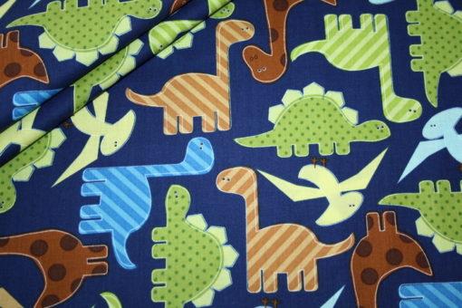 renee-d.de Onlineshop: Robert Kaufman Baumwollstoff Dinos blau grün