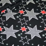 Stenzo Jersey Stoff Crazy Stars Sterne schwarz rot