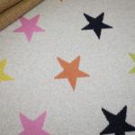 Jacquard Strick Jersey Stoff creme bunte Sterne
