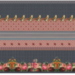 Stenzo French Terry Sweatshirt Stoff Digitaldruck Panel jeansblau  altrosa