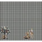 Stenzo Jersey Stoff Digitaldruck Panel Kleines Reh kariert