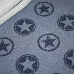 French Terry Sweatshirt Stoff blau meliert Sterne
