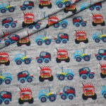 Hilco Jersey Stoff Monstertruck Autos Laster blau grau