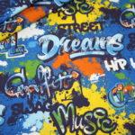 Hilco dünner Sweatshirt Stoff Street Style Graffiti blau gelb