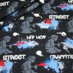 Hilco dünner Sweatshirt Stoff Street Style Graffiti blau rot Spraydosen