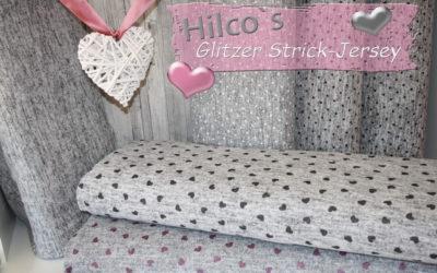 Hilco Strick Jersey grau meliert GLITZER Herzchen