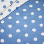 Strickstoff blau Punkte weiß