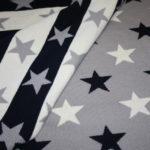 Strickstoff blau grau Sterne
