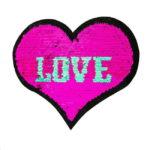 Streichpailetten Applikation Herz Love Unicorns pink