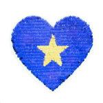 Streichpailetten Applikation kleines Herz blau gold