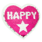 Streichpailetten Applikation Herz Happy Girl pink