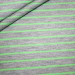 Jersey Stoff Streifen grau NEON grün