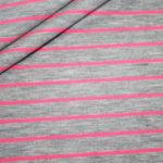 Jersey Stoff Streifen grau NEON pink