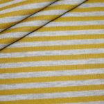 Dünner weicher French Terry Sweatshirt Stoff Streifen grau senf