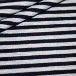 Dünner weicher French Terry Sweatshirt Stoff Streifen grau blau