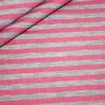 Dünner weicher French Terry Sweatshirt Stoff Streifen grau pink