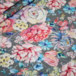 Digitaldruck Jersey Stoff Blumen grau bunt
