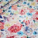 Digitaldruck Jersey Stoff Blumen weiß bunt