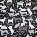Jersey Stoff Hunde Katzen grau schwarz